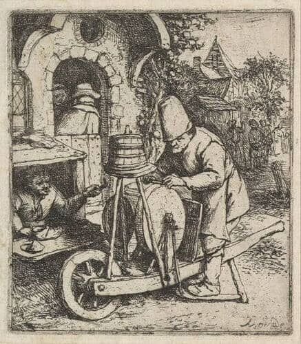 Kitchen knife Sharpeners information: 17th Century picture. Man sharpening knives.