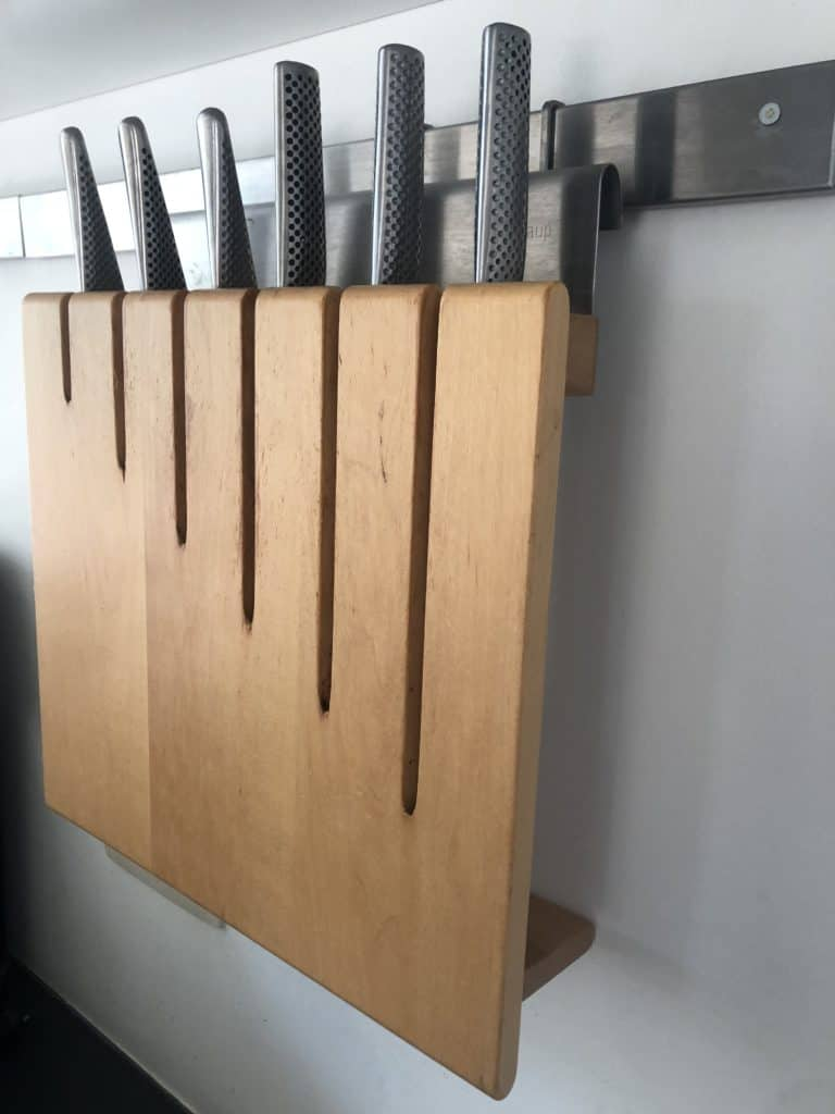 kitchen knives rack on wall very safely stored