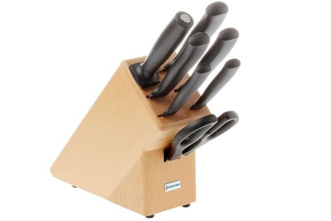 Kitchen knifes stored safely in wooden knife block