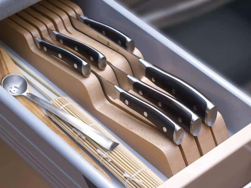 How to store my kitchen knives safely variable numbers of slots for your kitchen knives. well ordered and safe