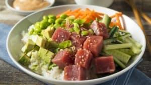 Chirashi sushi and sashimi in bowl