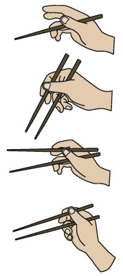 1. Hold one chopstick Hold one chopstick between your thumb and middle finger. Position the chopstick so that it lies at the base of your thumb (on the joint) and on the lower joint of the third finger. This chopstick shouldn't touch the forefinger. 2. Place the other chopstick Place the other chopstick between your thumb and forefinger. Hold the upper chopstick as if it were a pencil, held between your middle finger and forefinger, and use the tips of the thumb to keep it in place. 3. Hold the food Make sure the tips of the chopsticks are always even, and the same length.Keep the first chopstick stationary as you practice moving the second chopstick toward the stationary one. Use this technique to hold the food. firmly as you lift it toward your mouth.