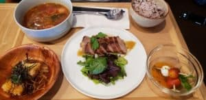 one bowl Japanese Soup and three side dishes