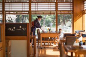 japanese waitress in restaurant