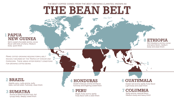 the coffee world map