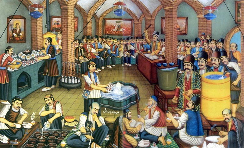 public ancient coffee house in Iran