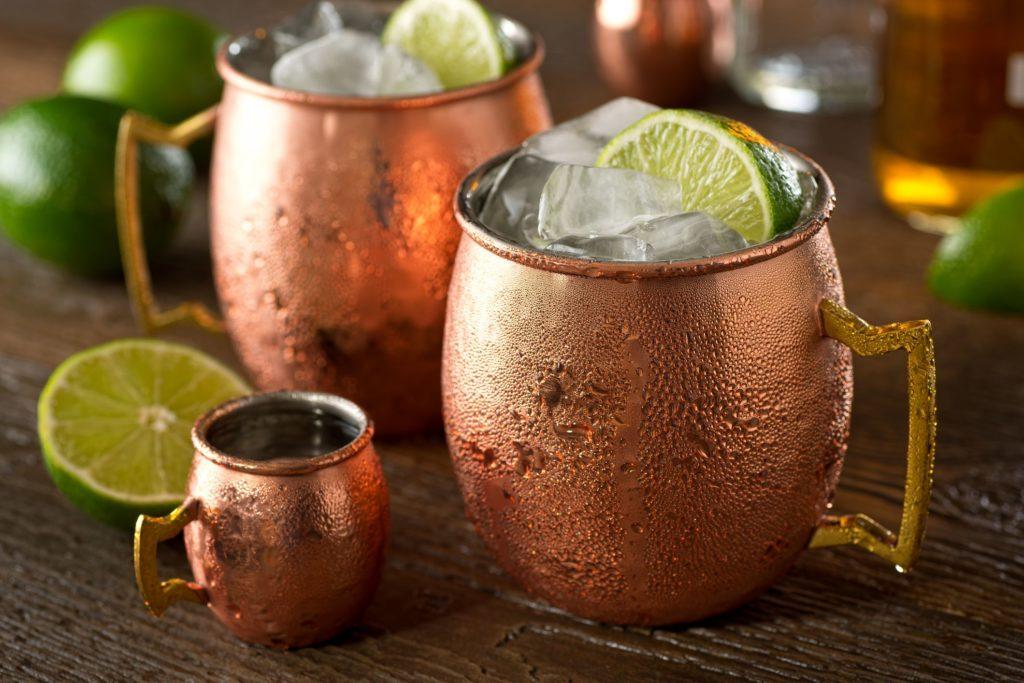 moskou mule cocktail in copper mug